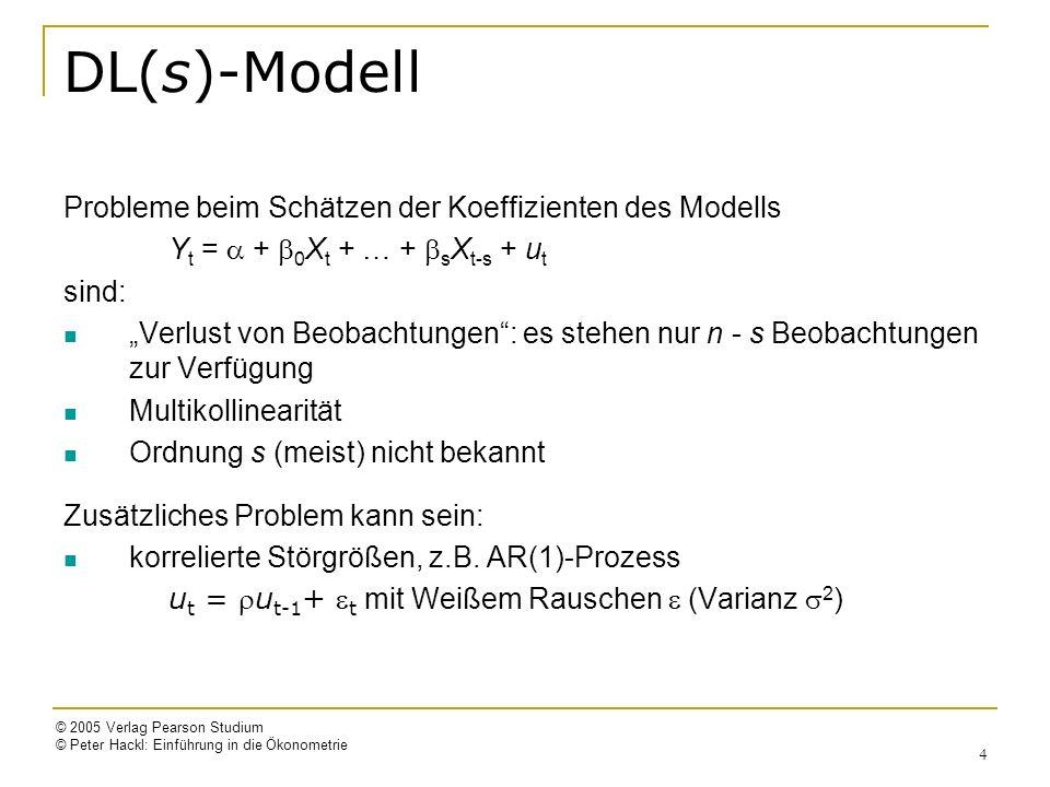 © 2005 Verlag Pearson Studium © Peter Hackl: Einführung in die Ökonometrie 5 DL(s)-Modell mit korrelierten Störgrößen Modell: Y t = + 0 X t + … + s X t-s + u t mit u t = u t-1 + t ( : Weißes Rauschen) Alternative Darstellungen (mit Störgrößen ) ADL-Form Y t = + Y t-1 + 0 X t + … + s+1 X t-s-1 + t mit = (1 – ), 0 = 0, 1 = 1 – 0, …, s+1 = – s ADL(1,s+1)-Modell Modell in Quasi-Differenzen: Y* t = + 0 X* t + … + s X* t-s + t mit Y* t = Y t – Y t-1, X* t = X t – X t-1