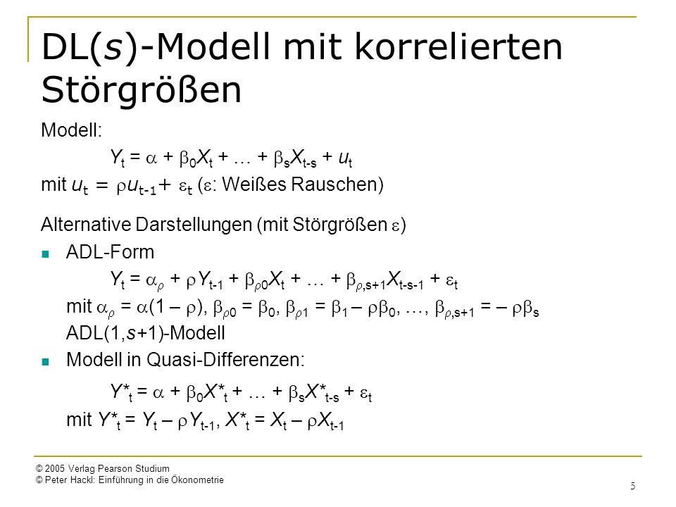 © 2005 Verlag Pearson Studium © Peter Hackl: Einführung in die Ökonometrie 6 Beispiel: DL(1)-Modell mit korrelierten Störgrößen Modell Y t = + 0 X t + 1 X t-1 + u t mit Störgrößen u t = u t-1 + t ( : Weißes Rauschen) ADL(1,2)-Form: Y t = + Y t-1 + 0 X t + 1 X t-1 + 2 X t-2 + t mit = (1 – ), 0 = 0, 1 = 1 – 0, 2 = – 1 ADL(1,2)-Modell Modell in Quasi-Differenzen: Y* t = + 0 X* t + 1 X* t-1 + t mit Y* t = Y t – Y t-1, X* t = X t – X t-1