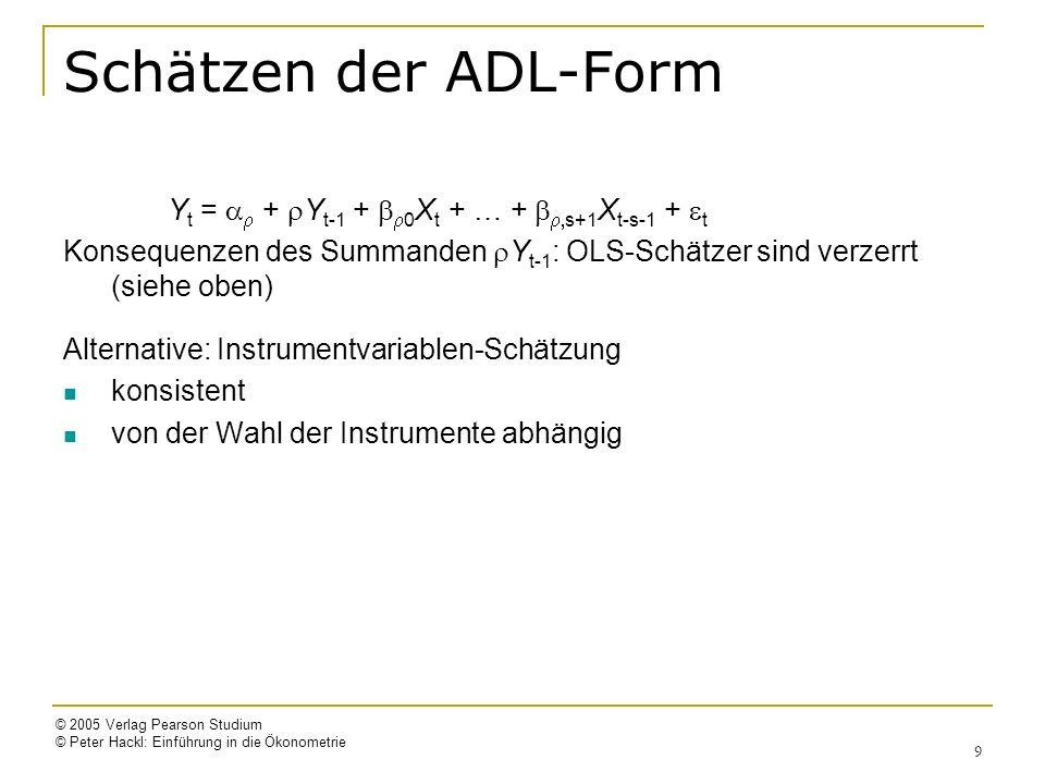 © 2005 Verlag Pearson Studium © Peter Hackl: Einführung in die Ökonometrie 9 Schätzen der ADL-Form Y t = + Y t-1 + 0 X t + … + s+1 X t-s-1 + t Konsequenzen des Summanden Y t-1 : OLS-Schätzer sind verzerrt (siehe oben) Alternative: Instrumentvariablen-Schätzung konsistent von der Wahl der Instrumente abhängig