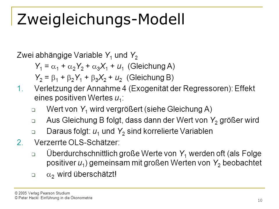 © 2005 Verlag Pearson Studium © Peter Hackl: Einführung in die Ökonometrie 10 Zweigleichungs-Modell Zwei abhängige Variable Y 1 und Y 2 Y 1 = 1 + 2 Y