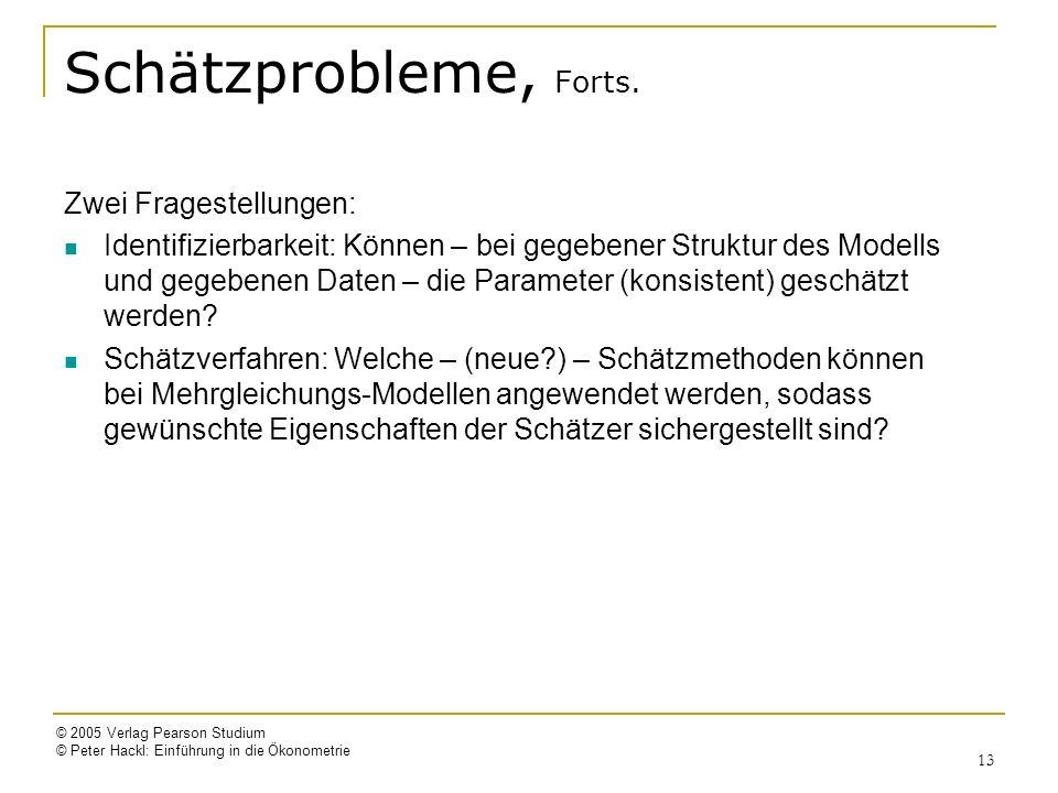 © 2005 Verlag Pearson Studium © Peter Hackl: Einführung in die Ökonometrie 13 Schätzprobleme, Forts. Zwei Fragestellungen: Identifizierbarkeit: Können