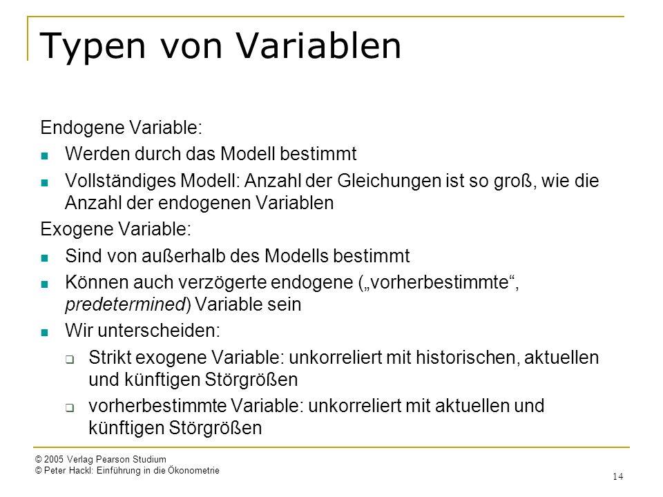 © 2005 Verlag Pearson Studium © Peter Hackl: Einführung in die Ökonometrie 14 Typen von Variablen Endogene Variable: Werden durch das Modell bestimmt