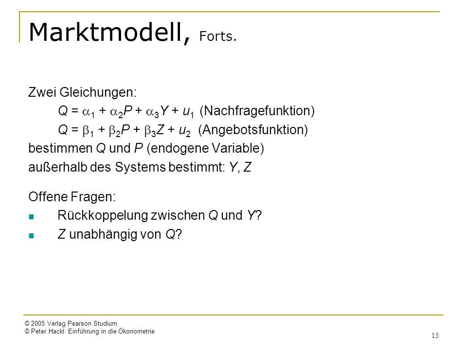 © 2005 Verlag Pearson Studium © Peter Hackl: Einführung in die Ökonometrie 15 Marktmodell, Forts. Zwei Gleichungen: Q = 1 + 2 P + 3 Y + u 1 (Nachfrage