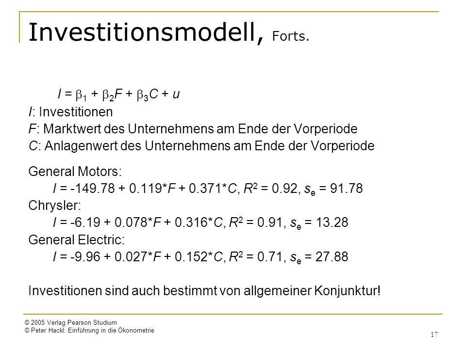 © 2005 Verlag Pearson Studium © Peter Hackl: Einführung in die Ökonometrie 17 Investitionsmodell, Forts. I = 1 + 2 F + 3 C + u I: Investitionen F: Mar