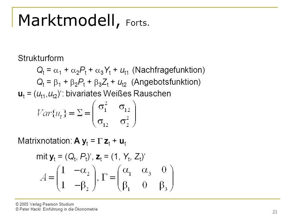 © 2005 Verlag Pearson Studium © Peter Hackl: Einführung in die Ökonometrie 21 Marktmodell, Forts. Strukturform Q t = 1 + 2 P t + 3 Y t + u t1 (Nachfra