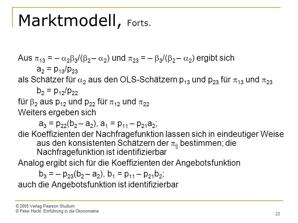 © 2005 Verlag Pearson Studium © Peter Hackl: Einführung in die Ökonometrie 25 Marktmodell, Forts. Aus 13 = – 2 3 /( 2 – 2 ) und 23 = – 3 /( 2 – 2 ) er