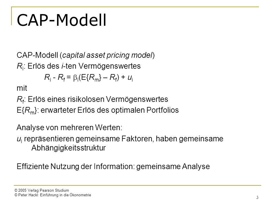 © 2005 Verlag Pearson Studium © Peter Hackl: Einführung in die Ökonometrie 3 CAP-Modell CAP-Modell (capital asset pricing model) R i : Erlös des i-ten
