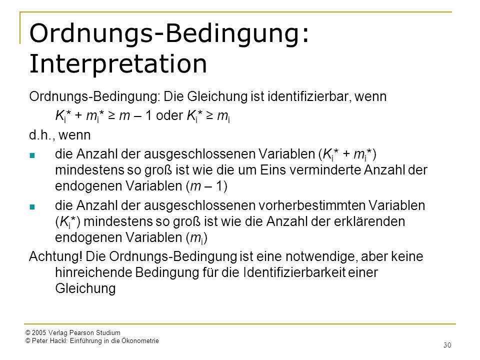 © 2005 Verlag Pearson Studium © Peter Hackl: Einführung in die Ökonometrie 30 Ordnungs-Bedingung: Interpretation Ordnungs-Bedingung: Die Gleichung ist