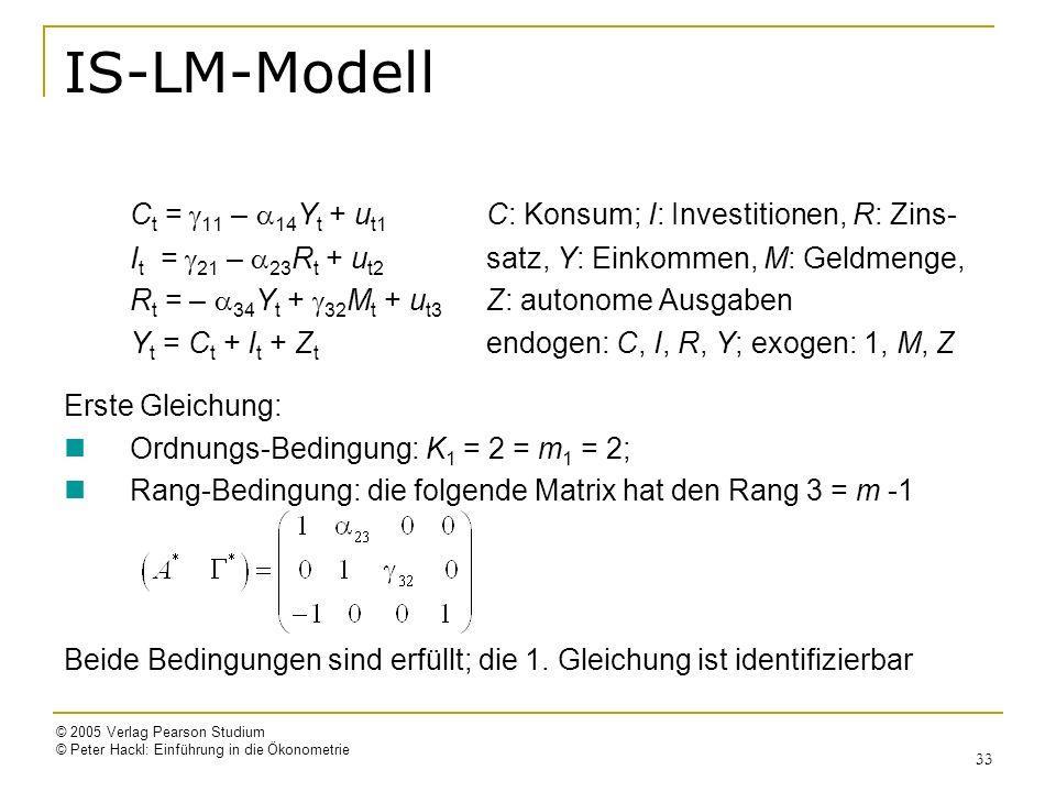 © 2005 Verlag Pearson Studium © Peter Hackl: Einführung in die Ökonometrie 33 IS-LM-Modell C t = 11 – 14 Y t + u t1 C: Konsum; I: Investitionen, R: Zi