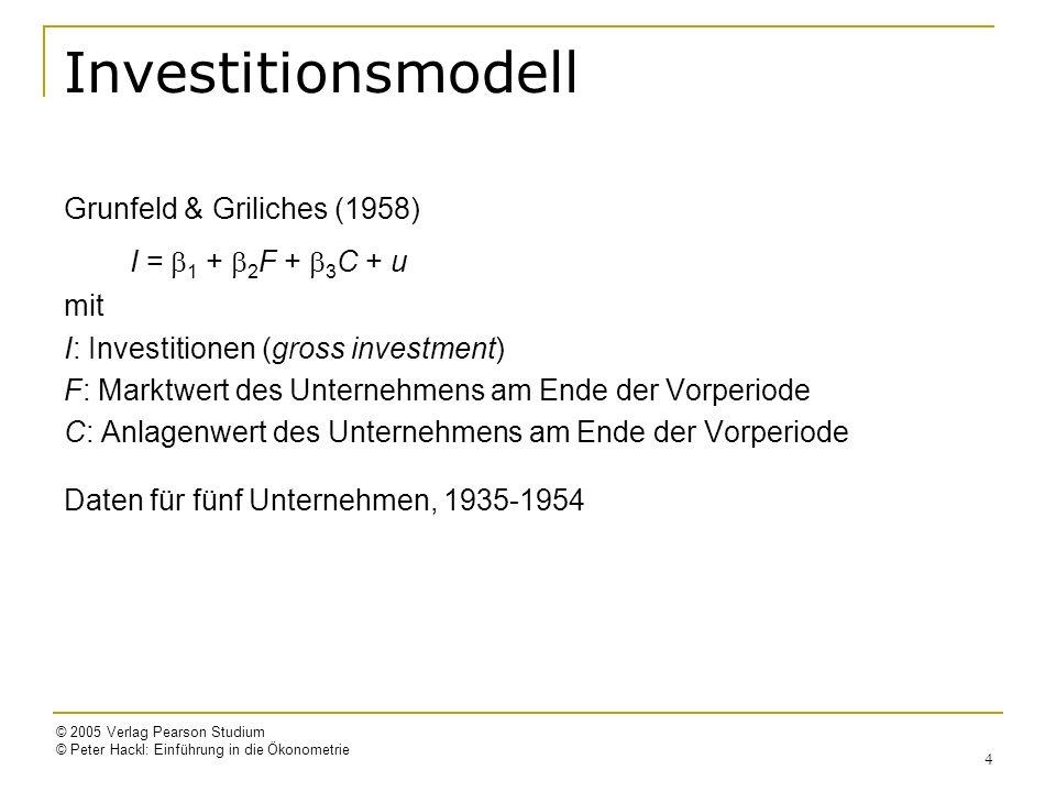© 2005 Verlag Pearson Studium © Peter Hackl: Einführung in die Ökonometrie 4 Investitionsmodell Grunfeld & Griliches (1958) I = 1 + 2 F + 3 C + u mit