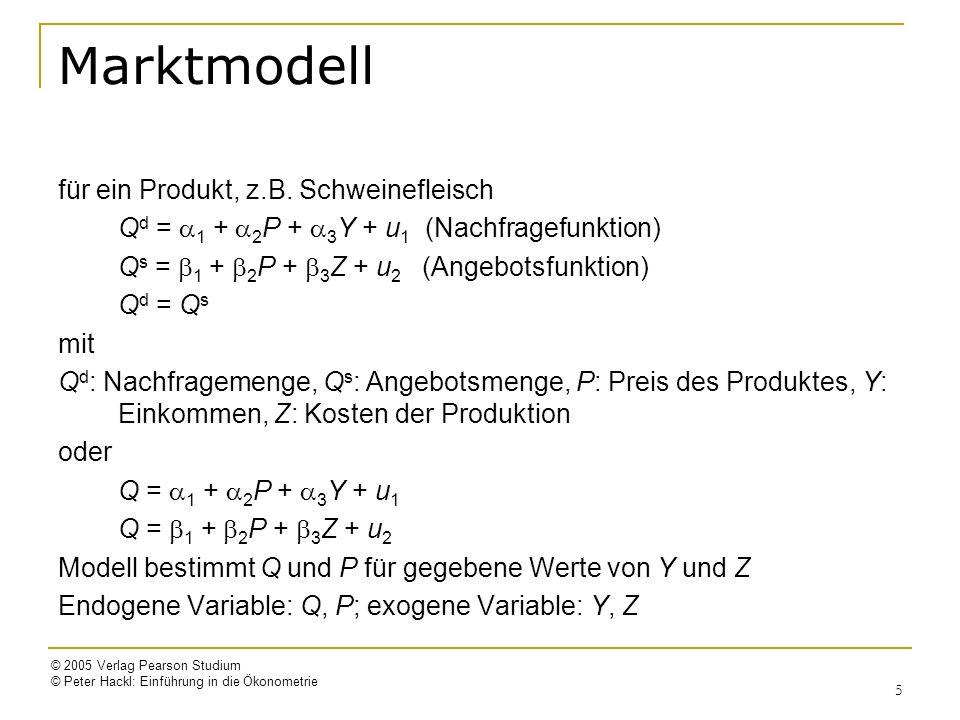 © 2005 Verlag Pearson Studium © Peter Hackl: Einführung in die Ökonometrie 5 Marktmodell für ein Produkt, z.B. Schweinefleisch Q d = 1 + 2 P + 3 Y + u