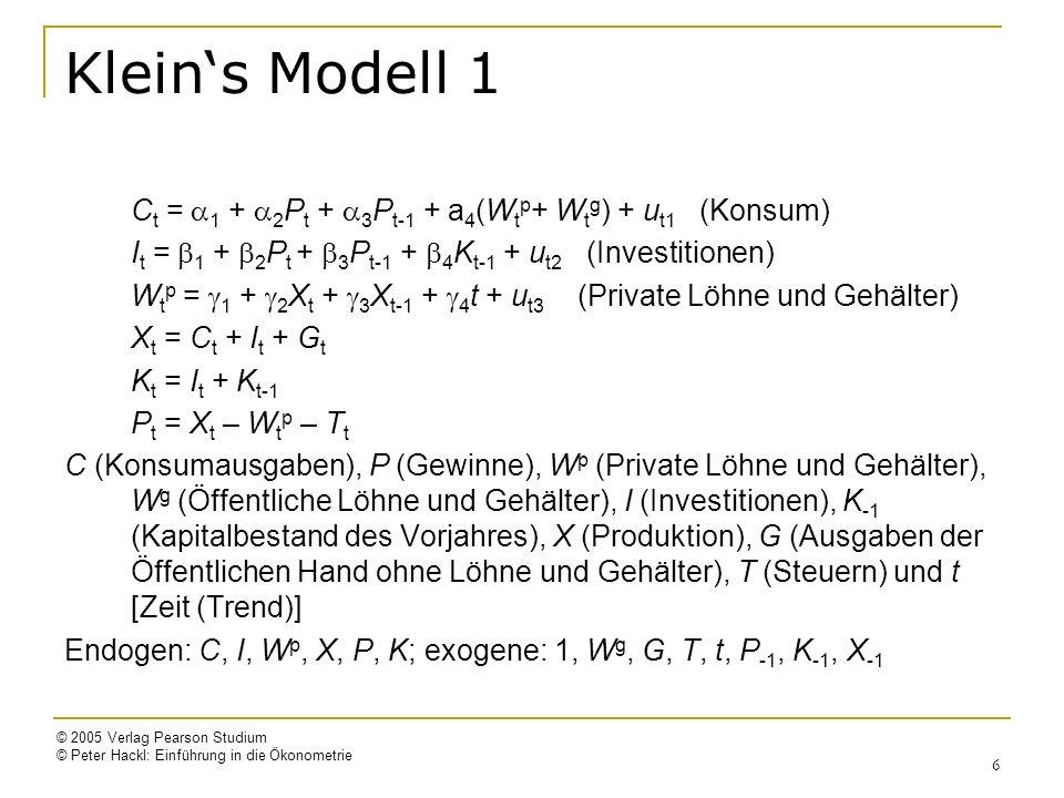 © 2005 Verlag Pearson Studium © Peter Hackl: Einführung in die Ökonometrie 6 Kleins Modell 1 C t = 1 + 2 P t + 3 P t-1 + a 4 (W t p + W t g ) + u t1 (
