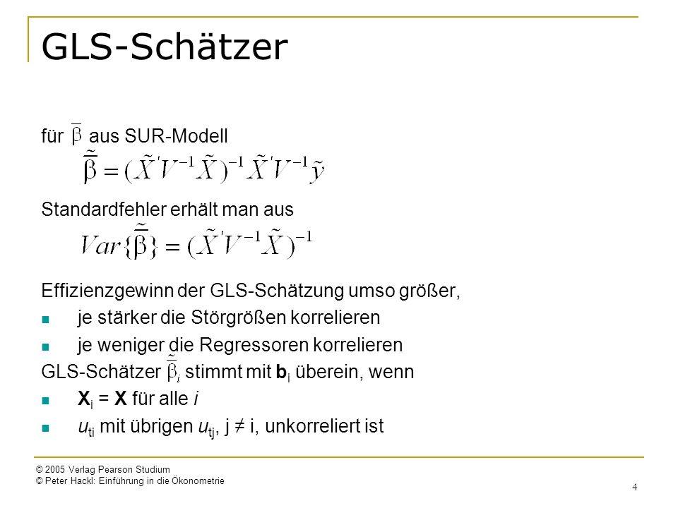 © 2005 Verlag Pearson Studium © Peter Hackl: Einführung in die Ökonometrie 15 2SLS-Schätzung Die Koeffizienten der i-ten Gleichung y i = X i i + u i = Y i i + Z i i + u i sollen geschätzt werden; Y i : (n x (m i -1))-Matrix der endogenen Variablen, Z i : (n x K i )-Matrix der vorherbestimmten Variablen 2SLS-Schätzung erfolgt in zwei Schritten: 1.Berechnen der Hilfsvariabeln Ŷ i mit Hilfe der OLS-Schätzung der Regressionskoeffizienten der reduzierten Form Y i = Z ( ) i + V i 2.Berechnen der Schätzer durch OLS-Anpassung von y i = i + u i mit = (Ŷ i Z i )