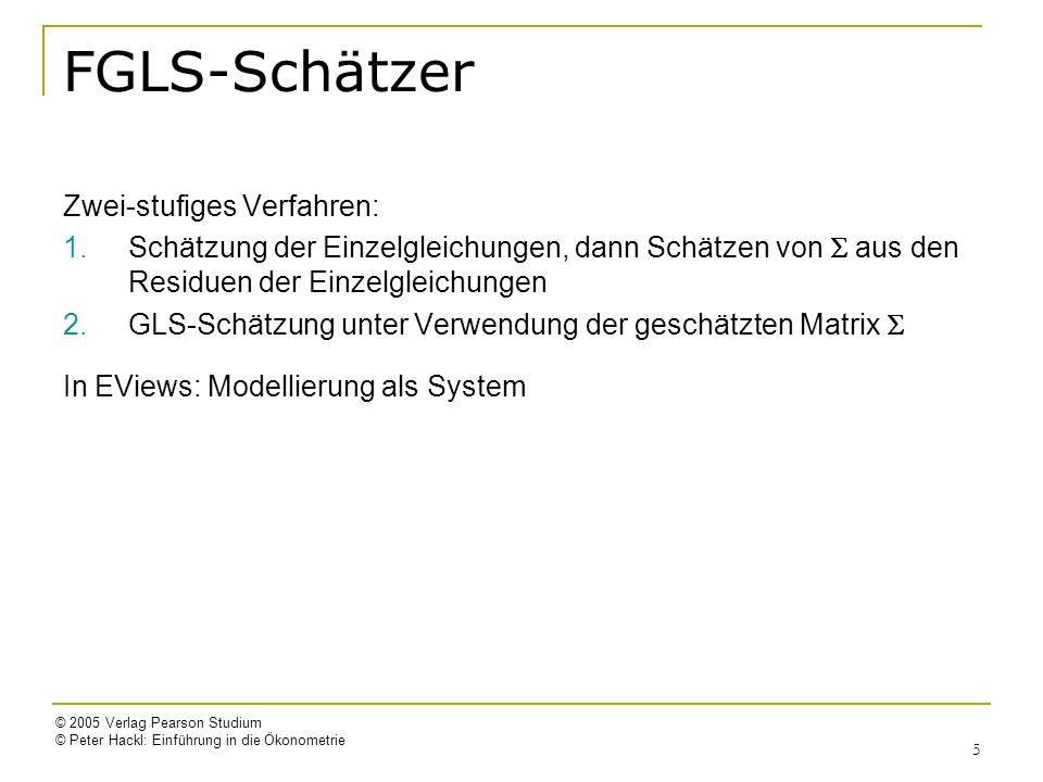 © 2005 Verlag Pearson Studium © Peter Hackl: Einführung in die Ökonometrie 16 Markt für Schweinefleisch Q = 1 + 2 P + 3 Y + u 1 (Nachfragefunktion) Q = 1 + 2 P + 3 Z + u 2 (Angebotsfunktion) Endogen: Q, P ; exogen: Y, Z 2SLS-Schätzung: 1.Stufe: = 11.2 + 0.008Y + 0.728Z [t(Y)=1.41, t(Z)=11.19; R 2 =0.89] = 16.1 + 0.046Y – 0.236Z [t(Y)=6.50, t(Z)=2.96; R 2 =0.73] 2.Stufe: = 60.9 – 3.088P + 0.149Y [t(P)=11.2, t(Y)=11.7; R 2 =0.89] = 8.32 + 0.177P + 0.770Z [t(P)=1.41, t(Z)=11.8; R 2 =0.89]