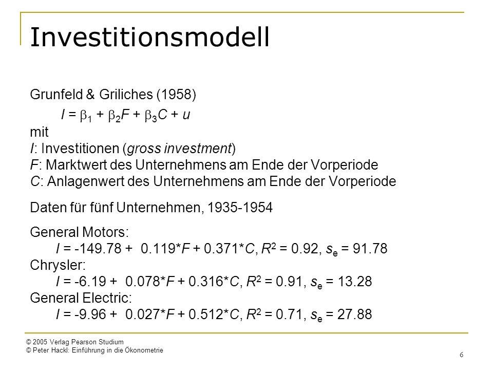 © 2005 Verlag Pearson Studium © Peter Hackl: Einführung in die Ökonometrie 6 Investitionsmodell Grunfeld & Griliches (1958) I = 1 + 2 F + 3 C + u mit I: Investitionen (gross investment) F: Marktwert des Unternehmens am Ende der Vorperiode C: Anlagenwert des Unternehmens am Ende der Vorperiode Daten für fünf Unternehmen, 1935-1954 General Motors: I = -149.78 + 0.119*F + 0.371*C, R 2 = 0.92, s e = 91.78 Chrysler: I = -6.19 + 0.078*F + 0.316*C, R 2 = 0.91, s e = 13.28 General Electric: I = -9.96 + 0.027*F + 0.512*C, R 2 = 0.71, s e = 27.88