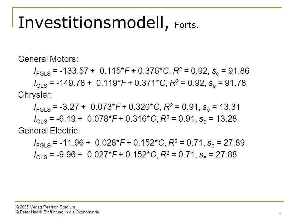 © 2005 Verlag Pearson Studium © Peter Hackl: Einführung in die Ökonometrie 18 2SLS-Schätzer: Eigenschaften Voraussetzung dafür, dass i-te Gleichung schätzbar ist: Identifizierbarkeit der i-ten Gleichung Abzählbedingung: Anzahl der aus der Gleichung ausgeschlossenen, vorherbestimmten Variablen (K-K i ) ist mindestens so groß wie die um Eins verminderte Zahl der endogenen Variablen (m i -1) Also: die Anzahl der als Instrumente in Frage kommenden, vorherbestimmten Variablen muss mindestens so groß sein wie die Anzahl der endogenen Variablen, die durch Hilfsvariable zu ersetzen sind Eigenschaften: 2SLS-Schätzer sind 1.konsistent 2.asymptotisch normalverteilt