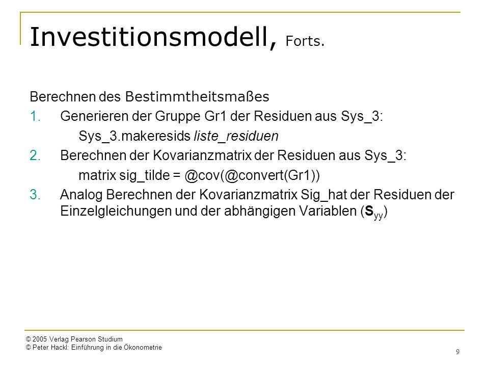 © 2005 Verlag Pearson Studium © Peter Hackl: Einführung in die Ökonometrie 10 Simultane Mehrgleichungs- Modelle: Schätzverfahren 1.Einzelgleichungs-Schätzverfahren oder Methoden bei beschränkter Information (limited information methods) Indirekte Kleinste-Quadrate-Schätzung (ILS) Zweistufige Kleinste-Quadrate-Schätzung (2SLS) ML-Schätzung bei beschränkter Information (LIML) 2.Simultane Schätzverfahren (System-Schätzmethoden) Dreistufige Kleinste-Quadrate-Schätzung (3SLS) ML-Schätzung bei voller Information (FIML)