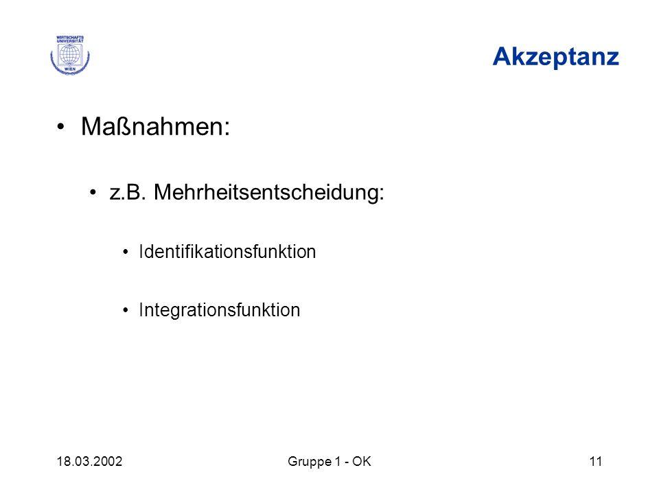 18.03.2002Gruppe 1 - OK11 Akzeptanz Maßnahmen: z.B. Mehrheitsentscheidung: Identifikationsfunktion Integrationsfunktion