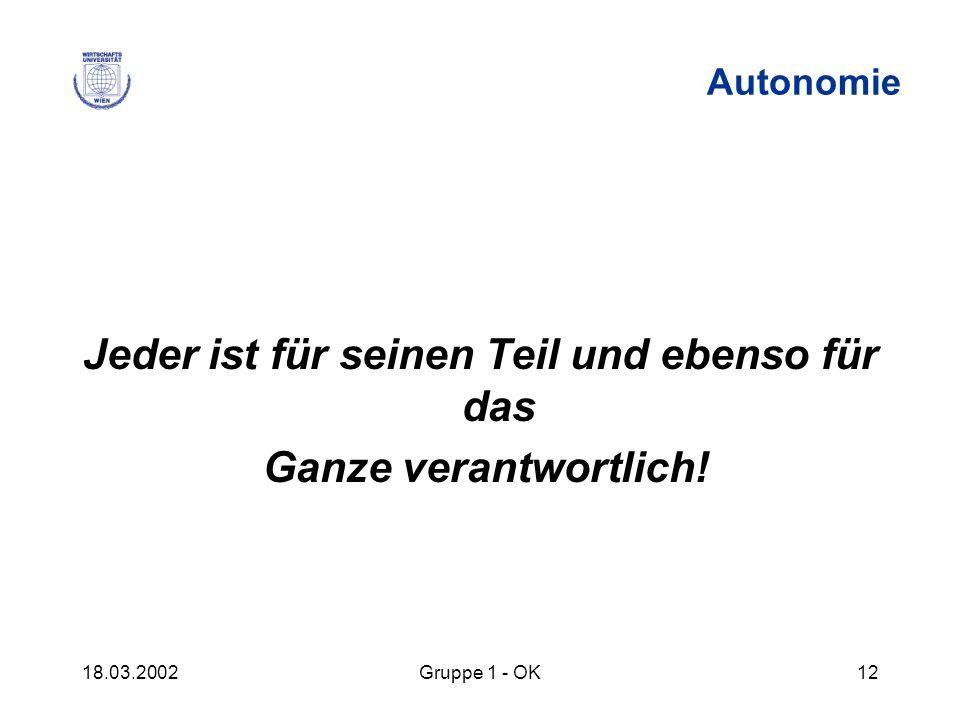 18.03.2002Gruppe 1 - OK12 Autonomie Jeder ist für seinen Teil und ebenso für das Ganze verantwortlich!