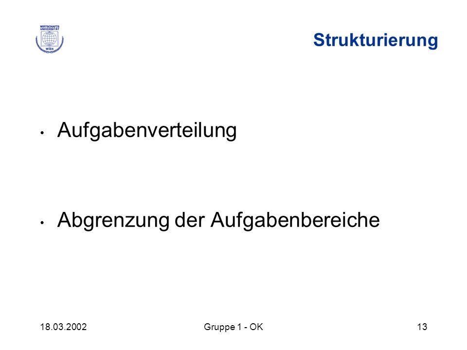 18.03.2002Gruppe 1 - OK13 Strukturierung Aufgabenverteilung Abgrenzung der Aufgabenbereiche