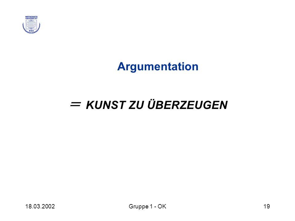 18.03.2002Gruppe 1 - OK19 Argumentation = KUNST ZU ÜBERZEUGEN