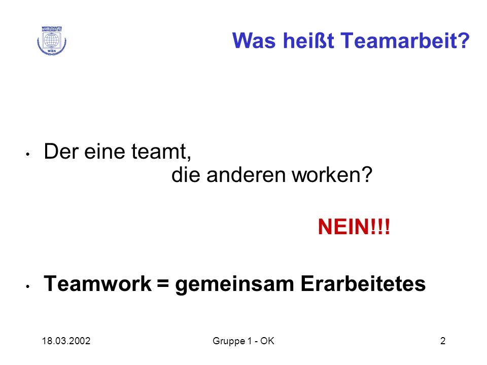18.03.2002Gruppe 1 - OK2 Was heißt Teamarbeit? Der eine teamt, die anderen worken? NEIN!!! Teamwork = gemeinsam Erarbeitetes