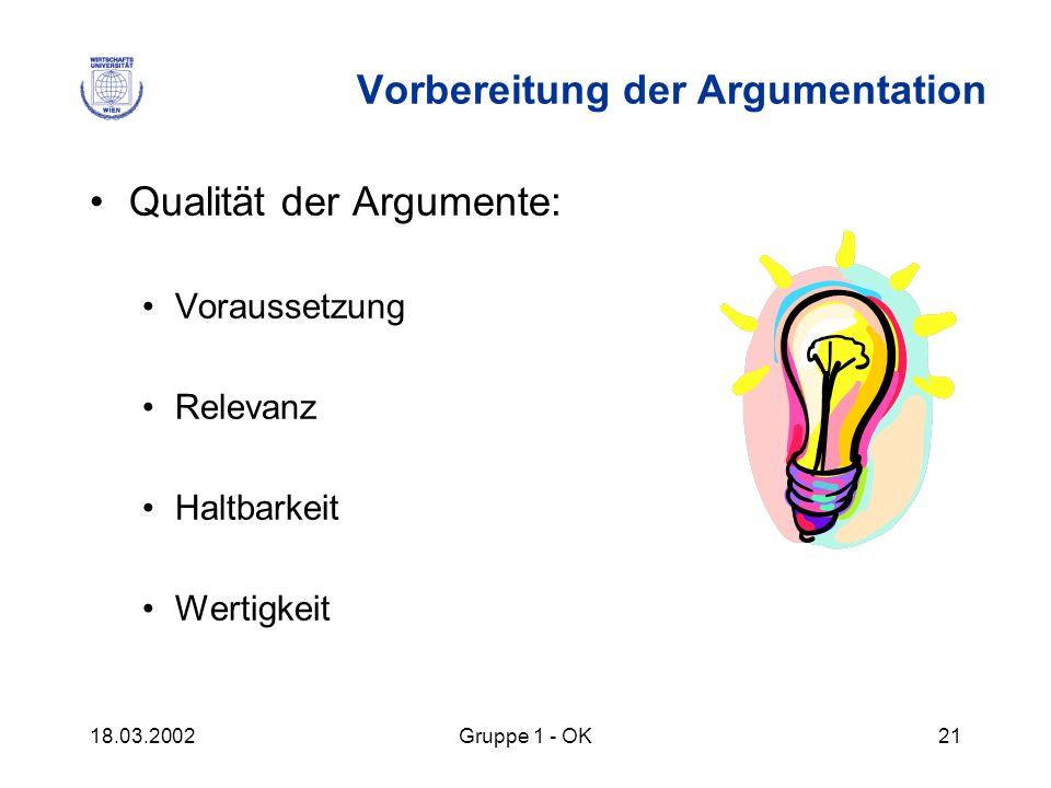 18.03.2002Gruppe 1 - OK21 Vorbereitung der Argumentation Qualität der Argumente: Voraussetzung Relevanz Haltbarkeit Wertigkeit