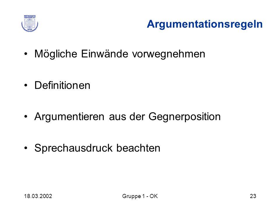18.03.2002Gruppe 1 - OK23 Argumentationsregeln Mögliche Einwände vorwegnehmen Definitionen Argumentieren aus der Gegnerposition Sprechausdruck beachte