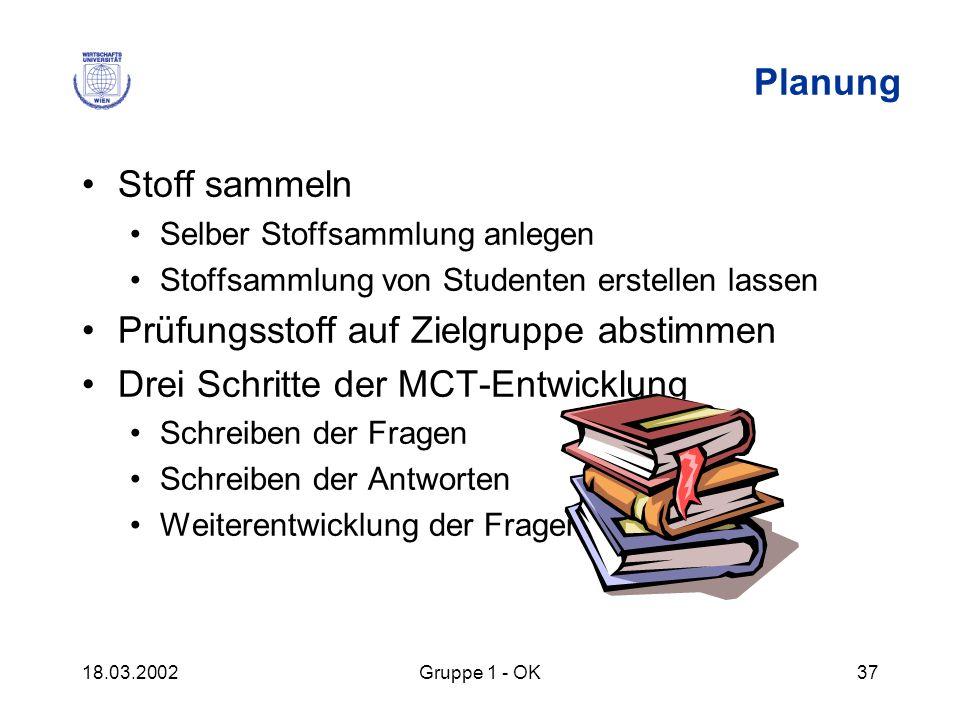 18.03.2002Gruppe 1 - OK37 Planung Stoff sammeln Selber Stoffsammlung anlegen Stoffsammlung von Studenten erstellen lassen Prüfungsstoff auf Zielgruppe