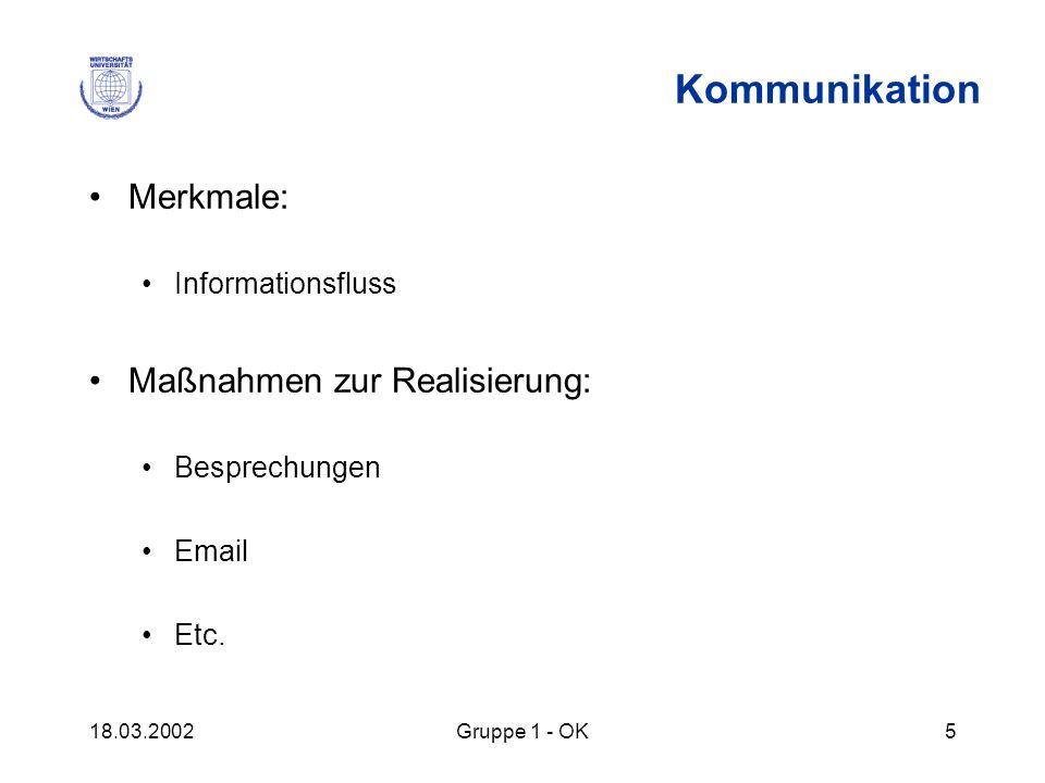 18.03.2002Gruppe 1 - OK5 Kommunikation Merkmale: Informationsfluss Maßnahmen zur Realisierung: Besprechungen Email Etc.