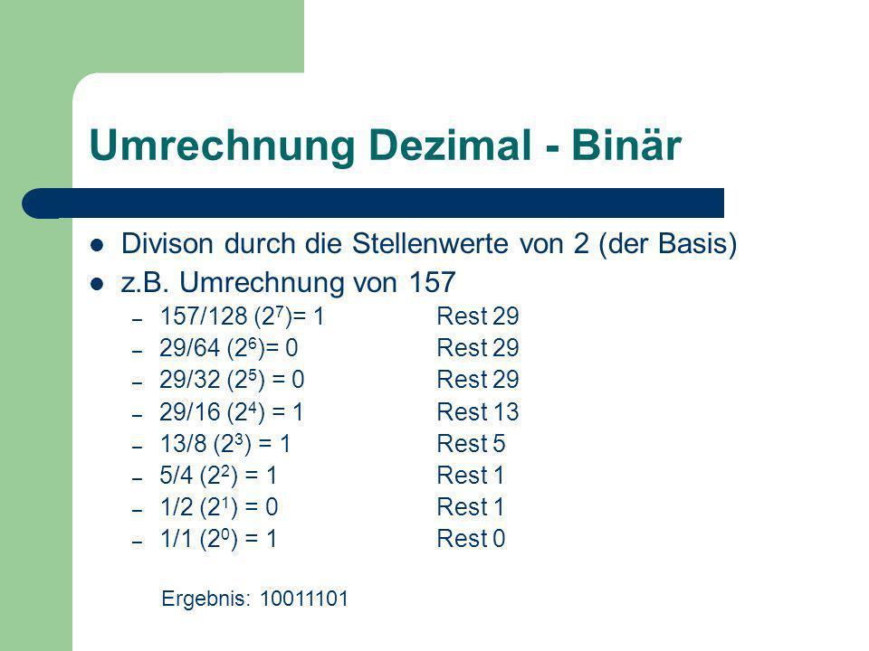 Umrechnung Binär - Dezimal Multiplikation mit den Stellenwerte von 2 (der Basis) z.B.