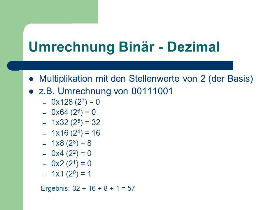 Beispiele Rechnen Sie folgende Zahlen in die binäre Darstellung um: 36, 144, 101, 9 Rechnen Sie folgende Zahlen in die dezimale Darstellung um: – 01001100 – 10101010 – 01110111 – 11000110