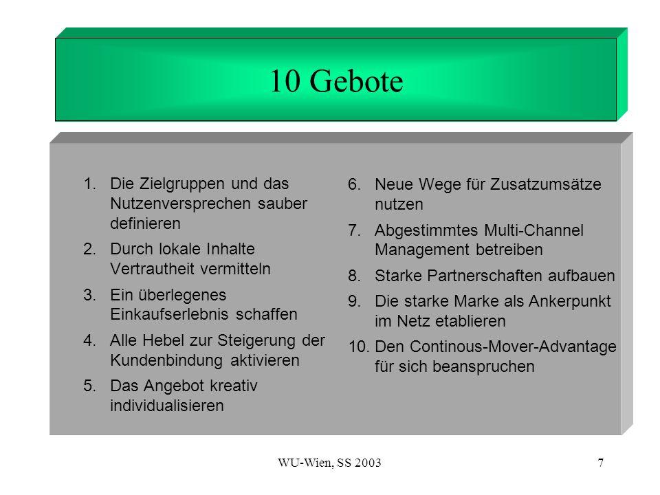 WU-Wien, SS 20037 1. Introduction 10 Gebote 6. Neue Wege für Zusatzumsätze nutzen 7. Abgestimmtes Multi-Channel Management betreiben 8. Starke Partner