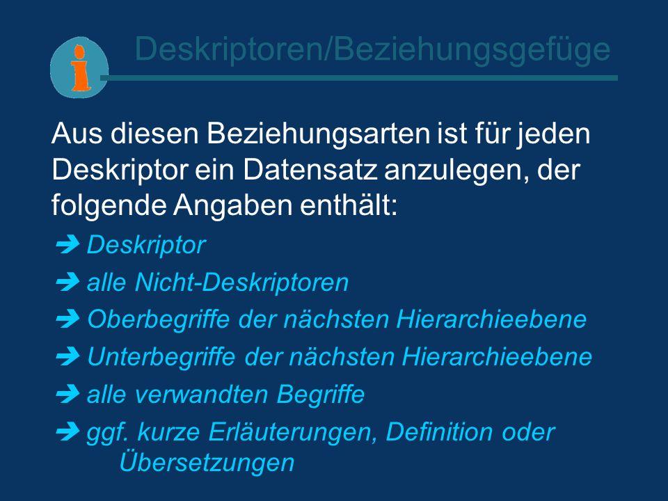 Deskriptoren/Beziehungsgefüge Aus diesen Beziehungsarten ist für jeden Deskriptor ein Datensatz anzulegen, der folgende Angaben enthält: Deskriptor al