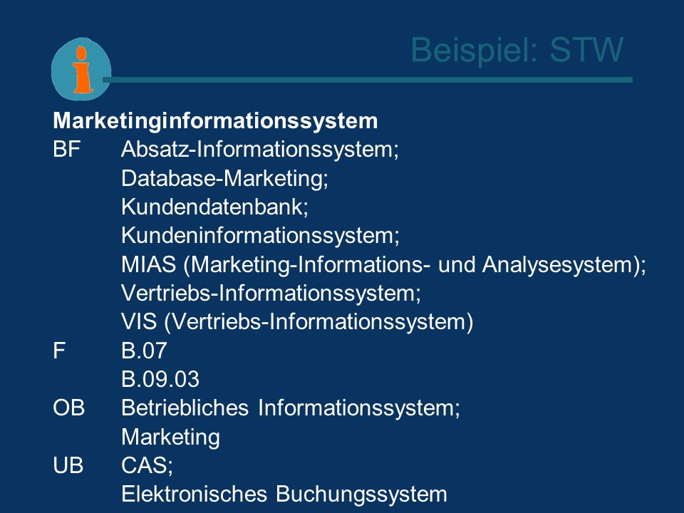 Beispiel: STW Marketinginformationssystem BFAbsatz-Informationssystem; Database-Marketing; Kundendatenbank; Kundeninformationssystem; MIAS (Marketing-