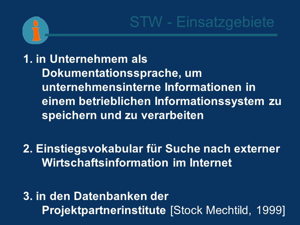 STW - Einsatzgebiete 1. in Unternehmem als Dokumentationssprache, um unternehmensinterne Informationen in einem betrieblichen Informationssystem zu sp