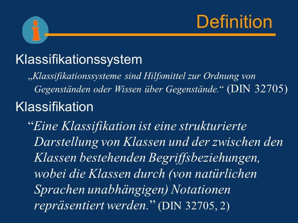 Definition Klassifikationssystem Klassifikationssysteme sind Hilfsmittel zur Ordnung von Gegenständen oder Wissen über Gegenstände. (DIN 32705) Klassi