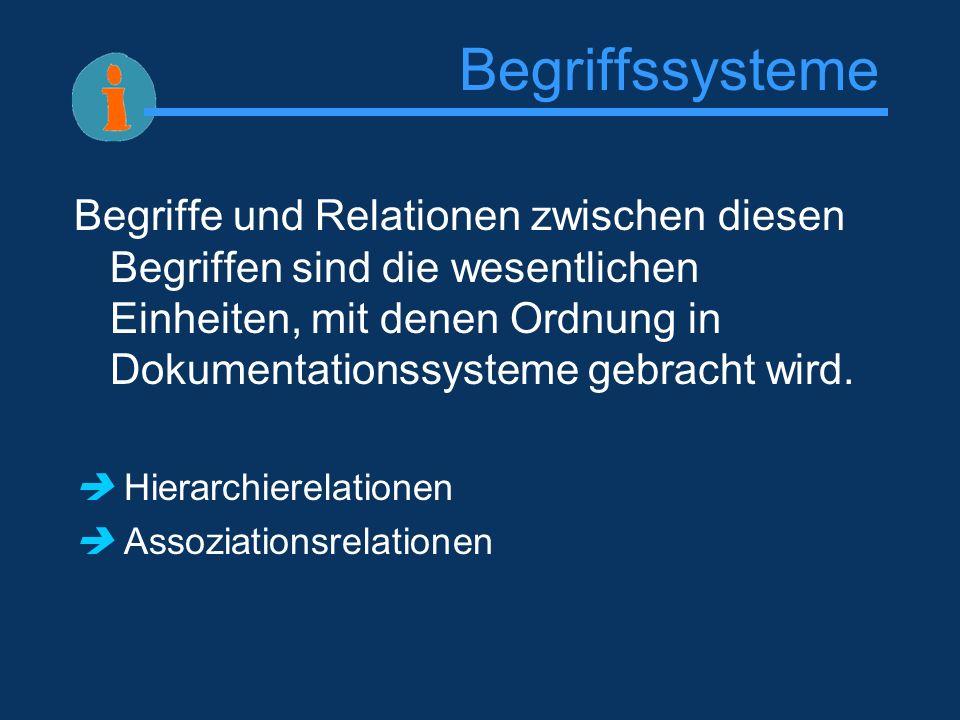 Begriffssysteme Begriffe und Relationen zwischen diesen Begriffen sind die wesentlichen Einheiten, mit denen Ordnung in Dokumentationssysteme gebracht