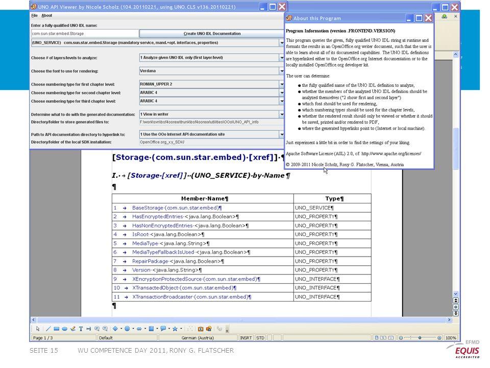 WU COMPETENCE DAY 2011, RONY G. FLATSCHERSEITE 15