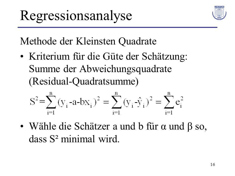 16 Regressionsanalyse Methode der Kleinsten Quadrate Kriterium für die Güte der Schätzung: Summe der Abweichungsquadrate (Residual-Quadratsumme) Wähle