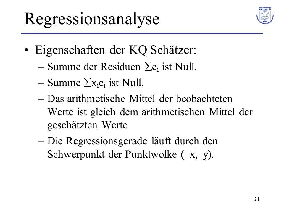 21 Regressionsanalyse Eigenschaften der KQ Schätzer: –Summe der Residuen e i ist Null. –Summe x i e i ist Null. –Das arithmetische Mittel der beobacht