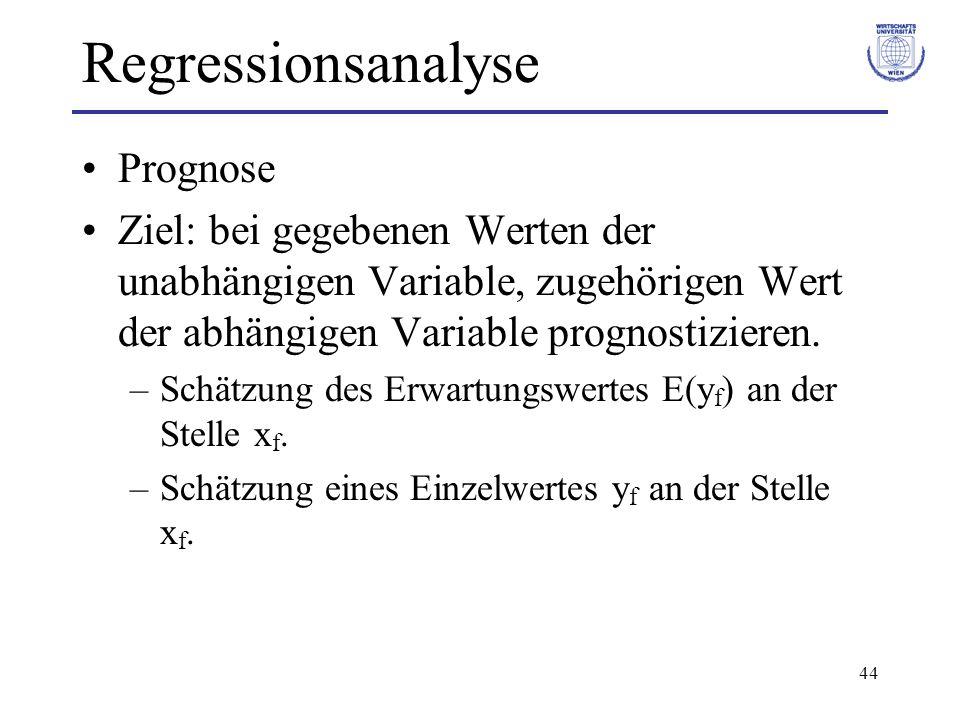 44 Regressionsanalyse Prognose Ziel: bei gegebenen Werten der unabhängigen Variable, zugehörigen Wert der abhängigen Variable prognostizieren. –Schätz