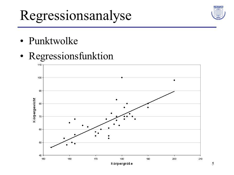 16 Regressionsanalyse Methode der Kleinsten Quadrate Kriterium für die Güte der Schätzung: Summe der Abweichungsquadrate (Residual-Quadratsumme) Wähle die Schätzer a und b für α und β so, dass S² minimal wird.