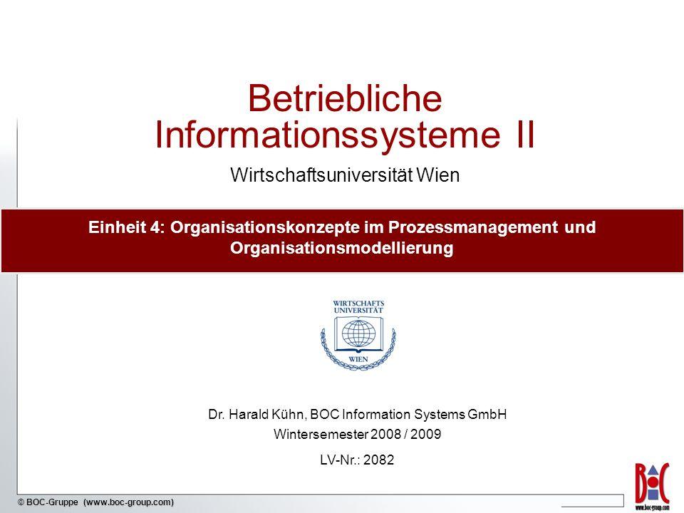 - 2 - © BOC-Gruppe (www.boc-group.com) Inhalt 1Einführung in Organisationsmodellierung 2 Organisationsformen 4 Prozessorientierte Aufbauorganisation 3 Rollen im Prozessmanagement 5 Organisationsmodellierung