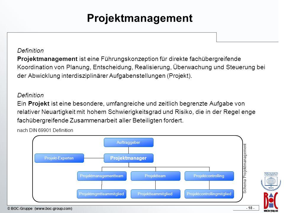 - 18 - © BOC-Gruppe (www.boc-group.com) Projektmanagement Definition Projektmanagement ist eine Führungskonzeption für direkte fachübergreifende Koord