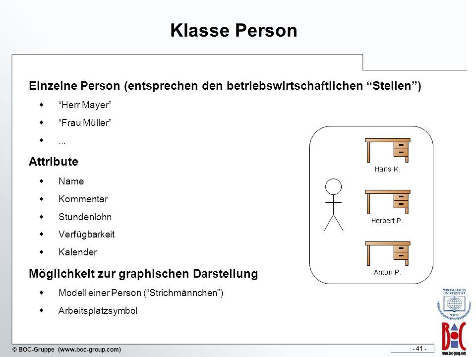 - 41 - © BOC-Gruppe (www.boc-group.com) Klasse Person Einzelne Person (entsprechen den betriebswirtschaftlichen Stellen) Herr Mayer Frau Müller... Att