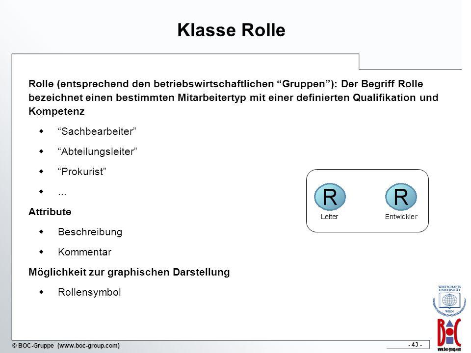 - 43 - © BOC-Gruppe (www.boc-group.com) Klasse Rolle Rolle (entsprechend den betriebswirtschaftlichen Gruppen): Der Begriff Rolle bezeichnet einen bes