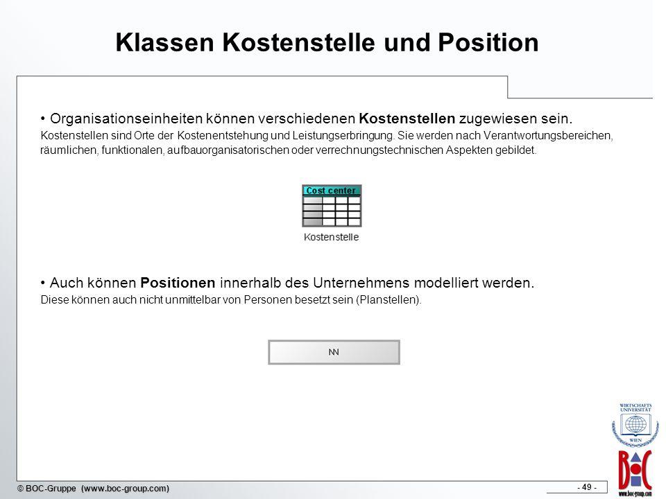 - 49 - © BOC-Gruppe (www.boc-group.com) Klassen Kostenstelle und Position Organisationseinheiten können verschiedenen Kostenstellen zugewiesen sein. K
