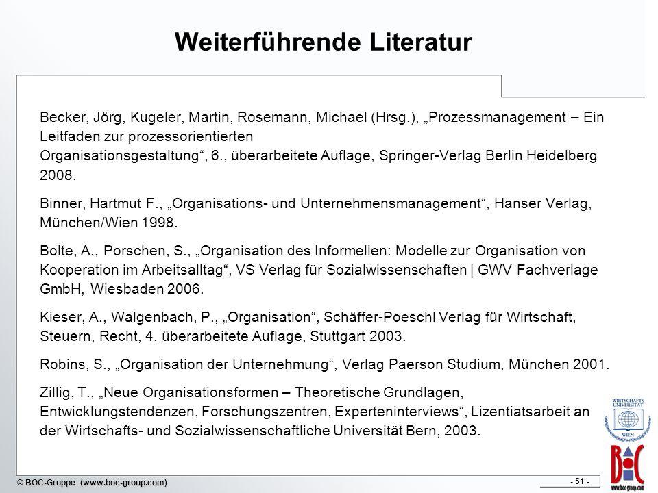 - 51 - © BOC-Gruppe (www.boc-group.com) Weiterführende Literatur Becker, Jörg, Kugeler, Martin, Rosemann, Michael (Hrsg.), Prozessmanagement – Ein Lei