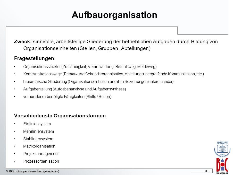 - 8 - © BOC-Gruppe (www.boc-group.com) Aufbauorganisation Zweck: sinnvolle, arbeitsteilige Gliederung der betrieblichen Aufgaben durch Bildung von Org